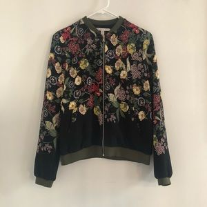 Zara Floral Zip Front Jacket